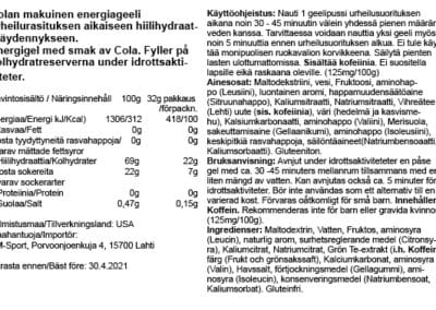 GU energiageeli Cola 4.2021